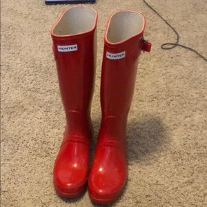 Hunter Tall Rain Boot Red High Gloss Size 7